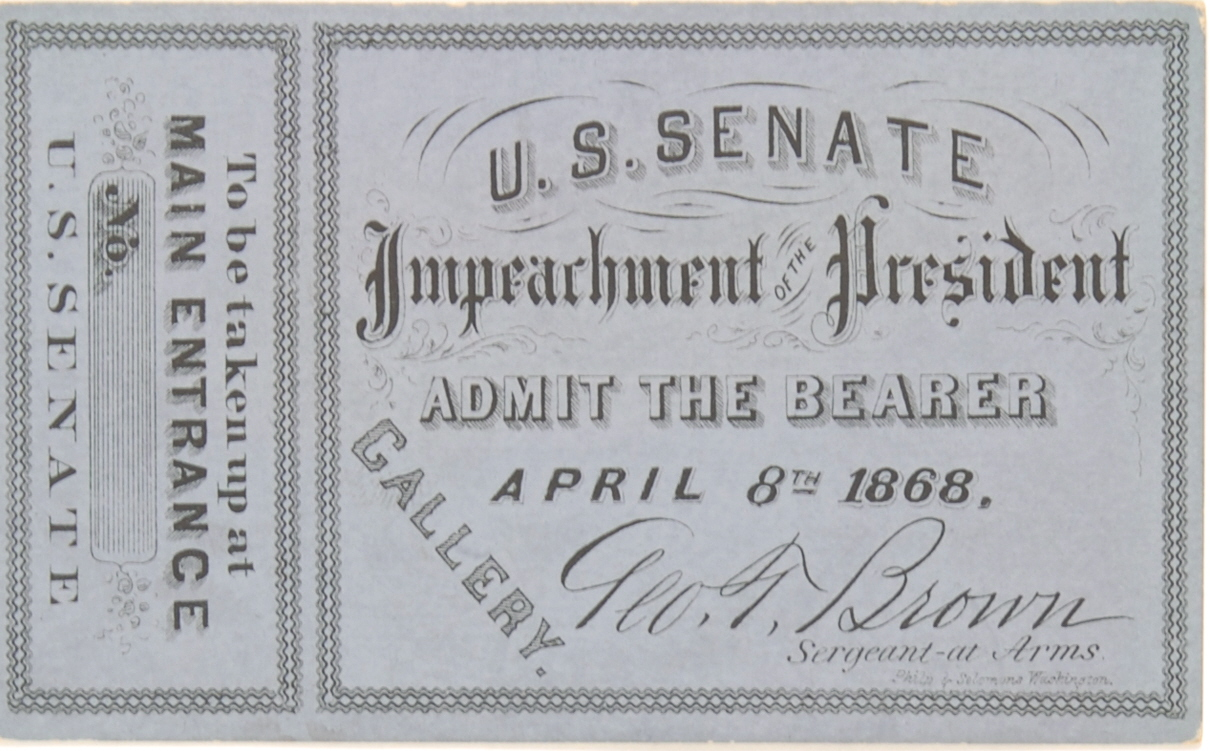 Lot Detail Andrew Johnson Impeachment Ticket