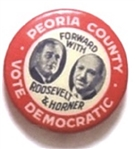 Franklin Roosevelt, Henry Horner Peoria County Coattail Pin