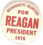 Massachusetts Volunteers for Reagan 1976 Celluloid