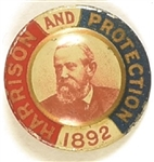 Benjamin Harrison and Protection 1892 Tinplate Pin