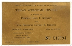 Kennedy Texas Welcome Dinner Nov. 22 Ticket