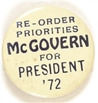 Re-Order Priorities McGovern for President