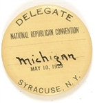 Hoover Syracuse, NY Convention Delegate Pin