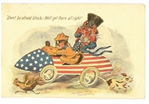 Theodore Roosevelt, Uncle Sam Race Car Postcard