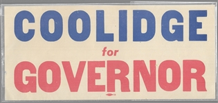 Coolidge for Governor Sticker