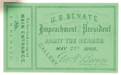 Andrew Johnson U.S. Senate Impeachment Ticket
