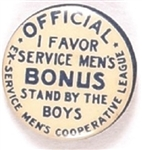 World War I Veterans Bonus March Pin