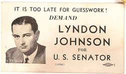 Lyndon Johnson for U.S. Senator Campaign Card