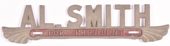 Al Smith for President Art Deco License Plate